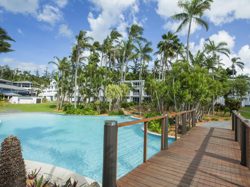 The resort swimming pool at the revamped Daydream Island. Picture: Lachie Millard