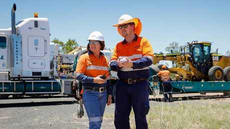 Adani Australia's Jacine Reading and Brenton Watts at the Carmichael mine. Picture: Cameron Laird