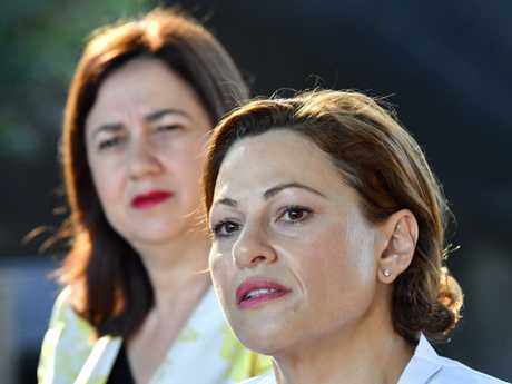 Queensland Premier Annastacia Palaszczuk (left) and Deputy Premier and Treasurer Jackie Trad. Picture: AAP/Darren England