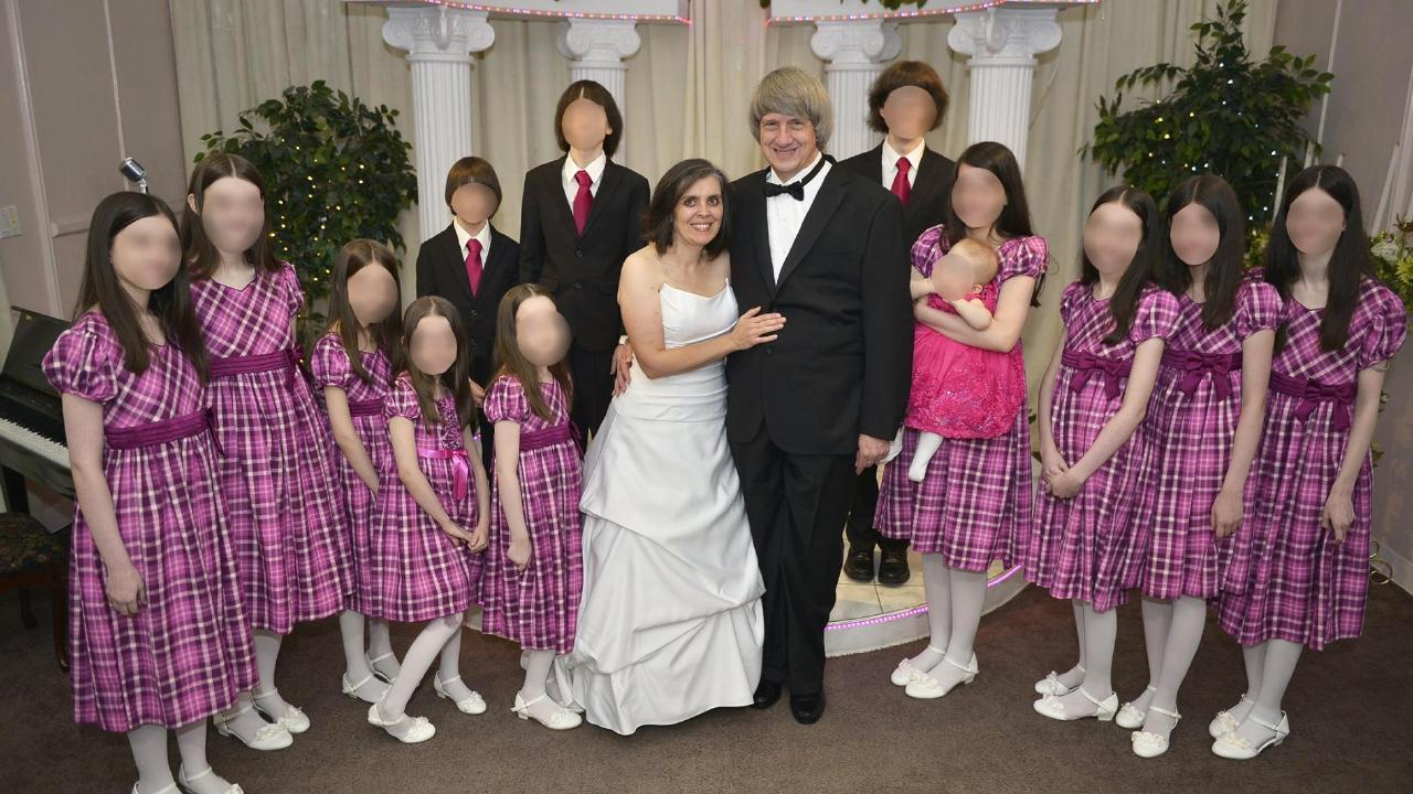 The children with their parents on a rare outing when their parents renewed their vows. Picture: Supplied