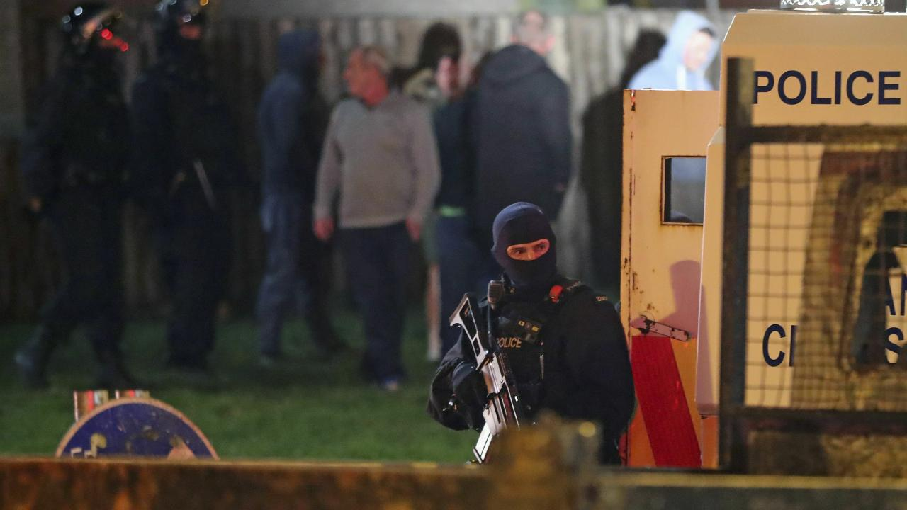 Armed police at the scene of unrest in Northern Ireland. Picture: AP