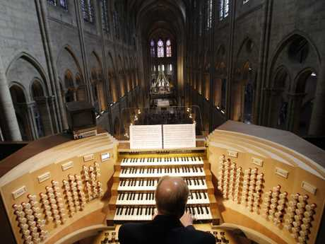 The organ at Notre Dame Cathedral in Paris prior to the fire. Picture: AP