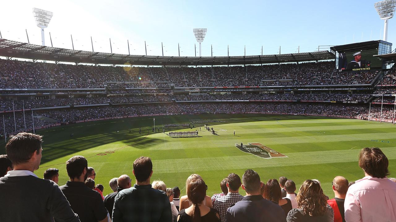 Anzac Day at the MCG has its solemn moments. Picture: Michael Dodge/Getty Images