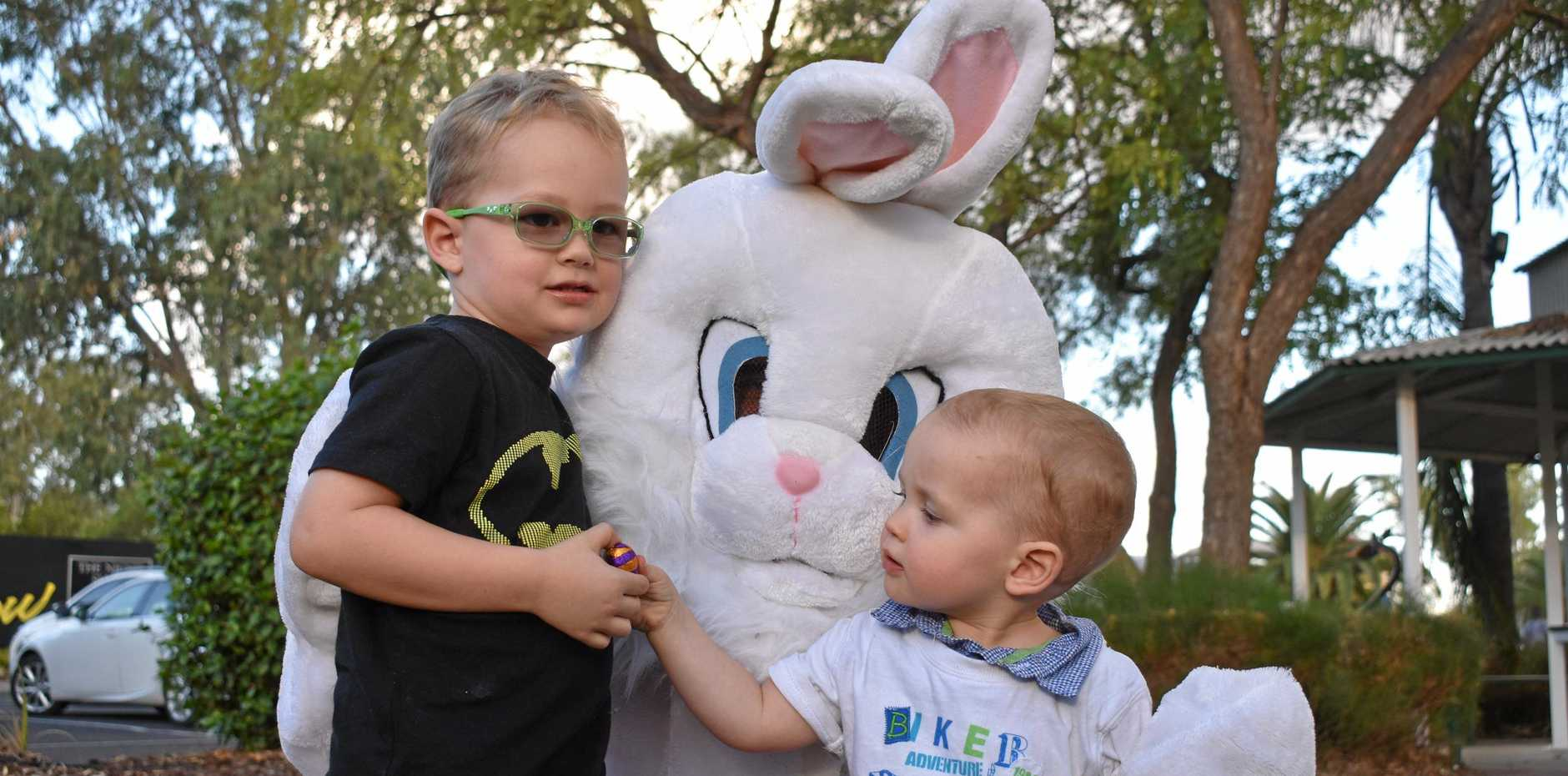 ROMA EASTER: William and James Neven with the Easter Bunny at this year's Easter in the Country.