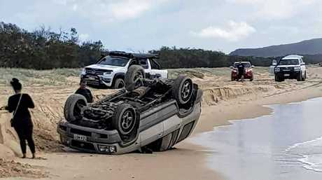 I got bogged at Inskip Point Facebook page posted photos of a car roll over along the beach at Teewah over the Easter break.