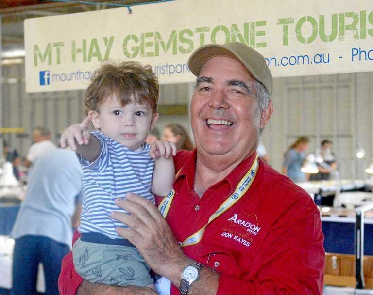 Bill Donohue with granddad Don Kayes at the Gemboree, Rockhampton Showgrounds