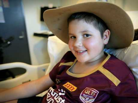 Joey Donald has been at the Queensland Children's Hospital since the 15th January but is making steady progress. Picture: Jamie Hanson