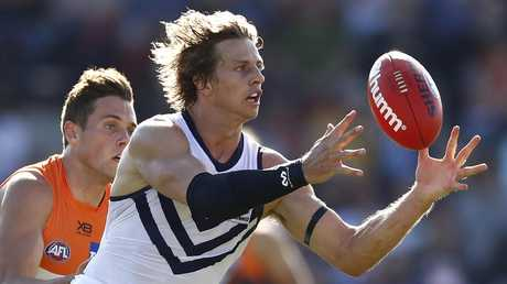 Superstar Nat Fyfe found a ton of the footy in his return for the Dockers. Picture: Getty Images
