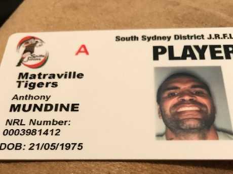 Mundine's official registration card.