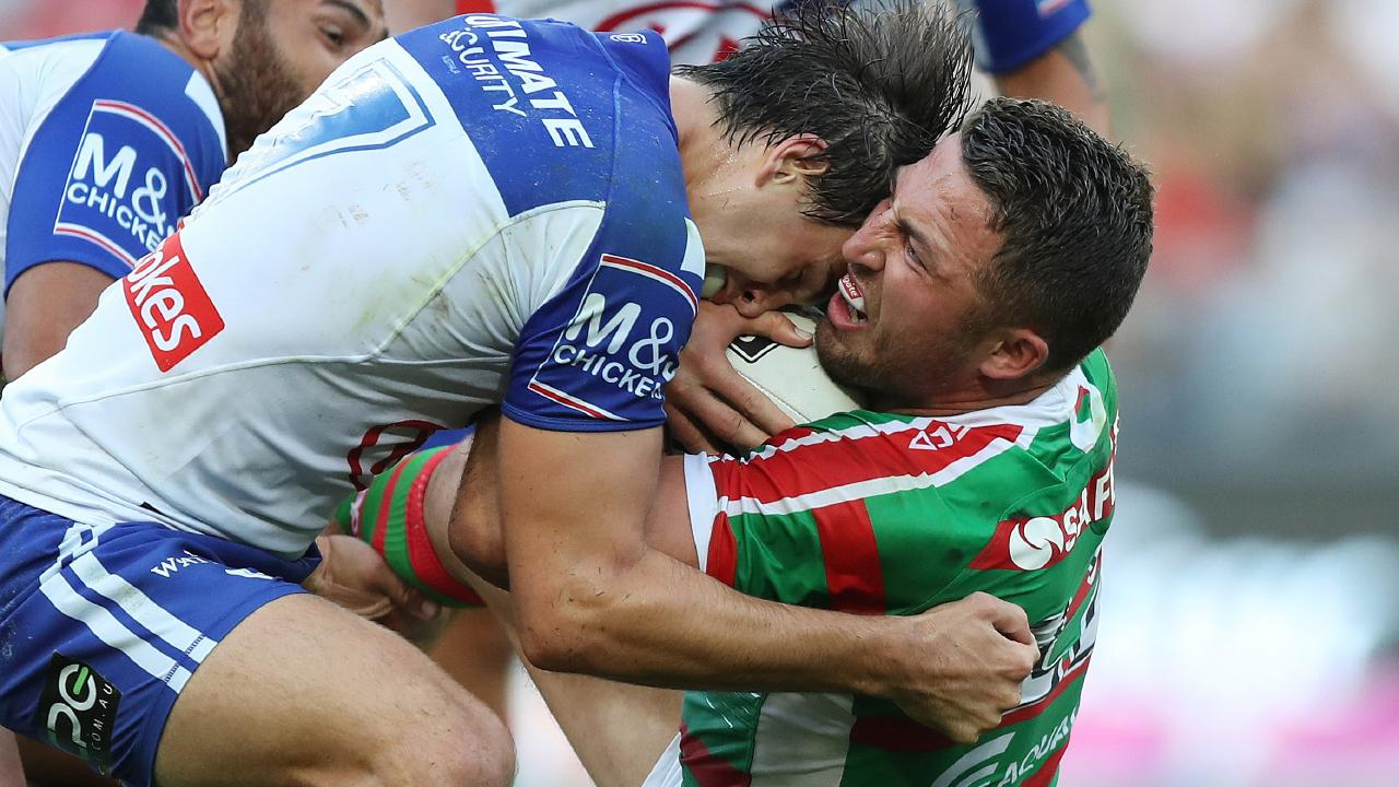 Lachlan Lewis and Sam Burgess had a running battle the entire game.