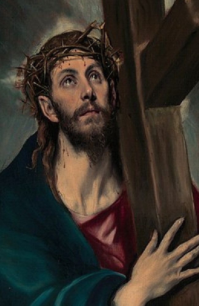Christ carrying the cross wearing the crown of thorns, as portrayed by the painter El Greco in 1580.