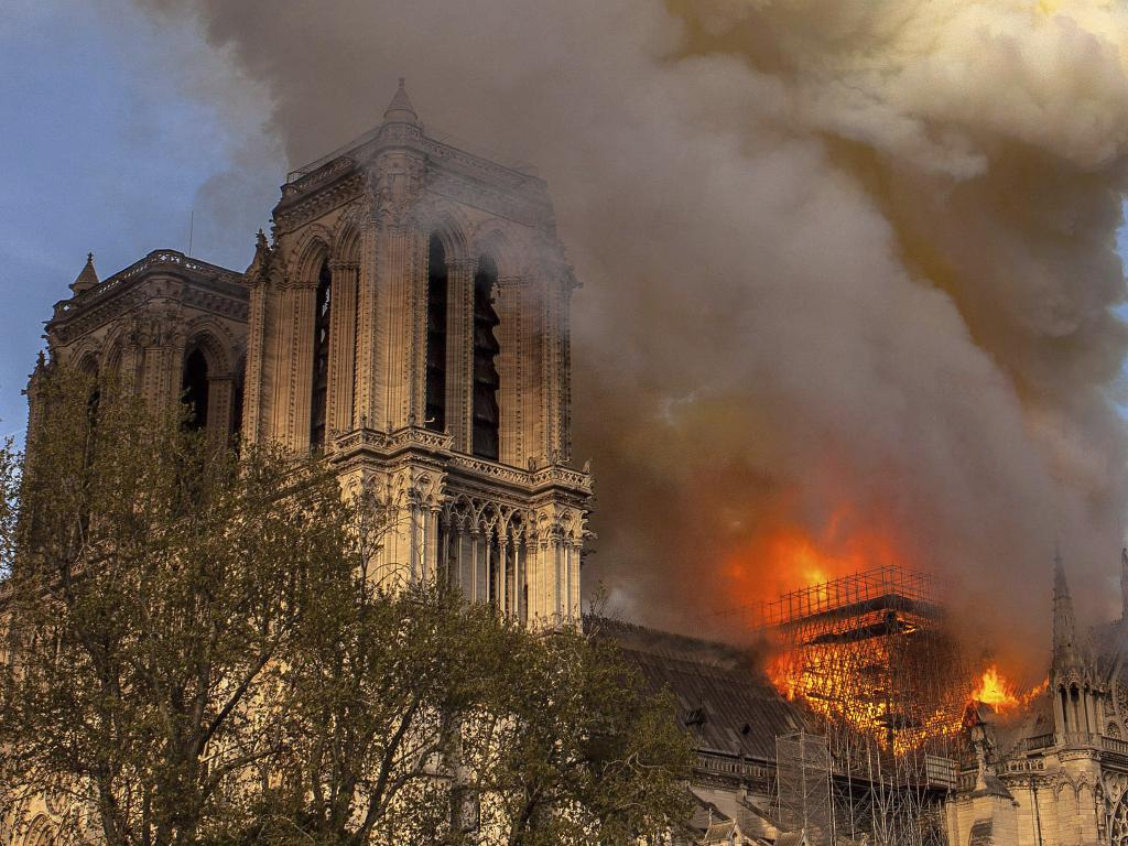 Notre Dame cathedral burning in Paris. Picture: AP