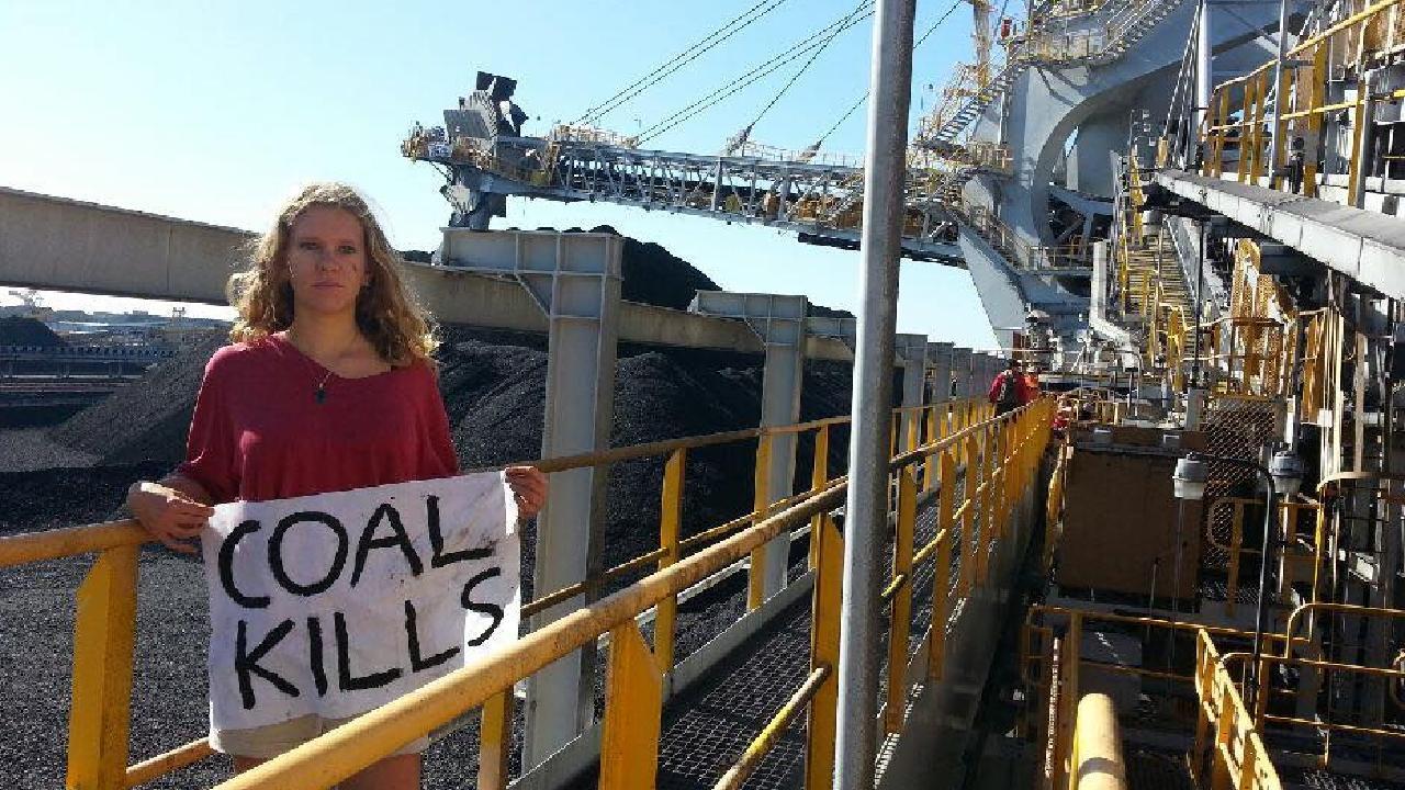 Sadie Jones, 18, from Highgate Hill, Brisbane, protesting in Newcastle, NSW, last September.
