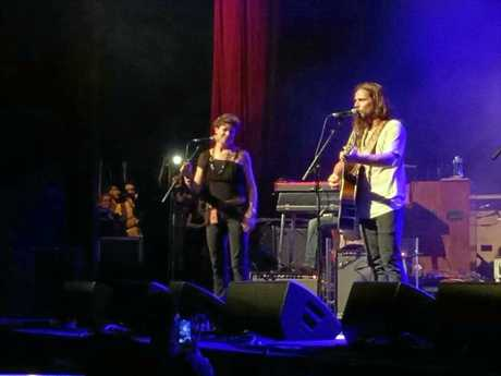 DUO: Leesa Gentz from The Hussy Hicks on stage with American artist Lukas Nelson singing Shallow from A Star is Born.