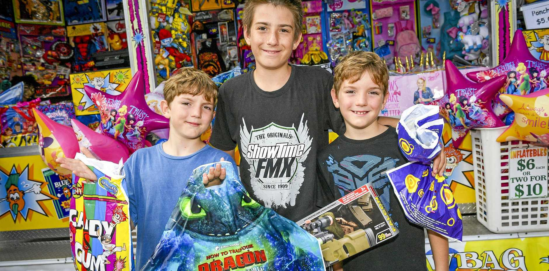 Drew, 8, Kane, 12 and Jake Hastie, 8 at the 2019 Gladstone Harbour Festival over the Easter long weekend.