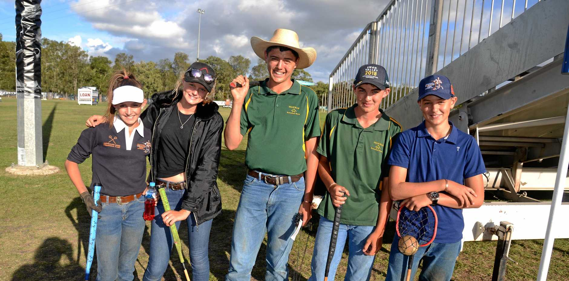 Central Queensland visitors Ella Myers, Tracey and Jacob Betts, Connor Neil-Ballantine and Travis Betts at Morgan Park.