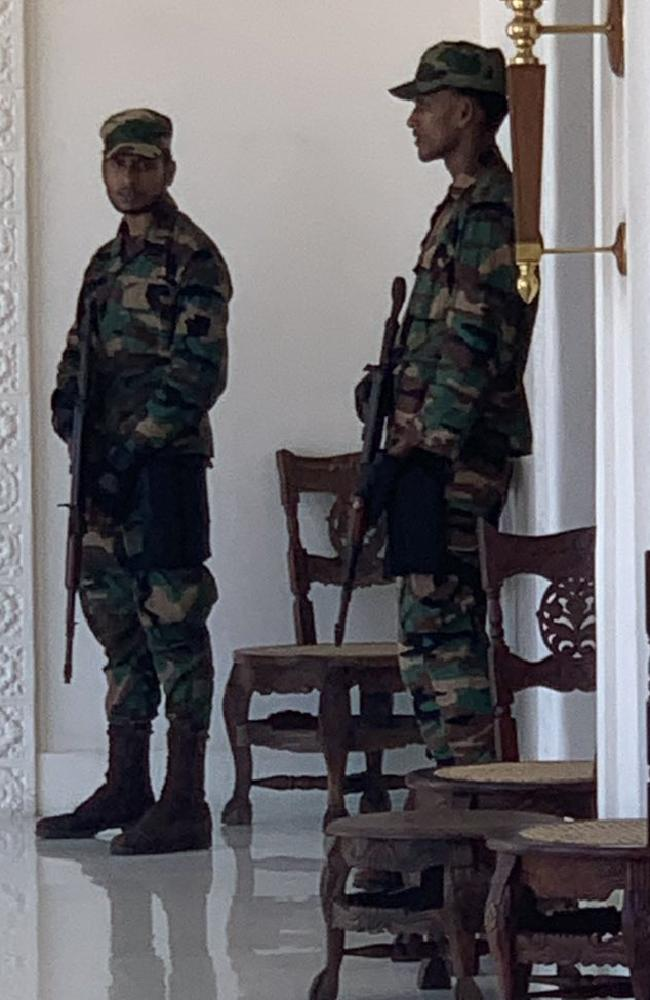 Australian woman Megan Anderson says heavily armed police are searching the Galle Face Hotel in Colombo following the blasts. Picture: Supplied