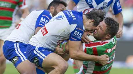 Lachlan Lewis takes on Sam Burgess. Picture: AAP Image/Craig Golding