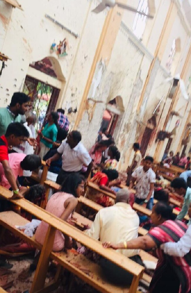 Blood everywhere. St.Sebastian's Church, Columbo, Sri Lanka. Picture: Facebook