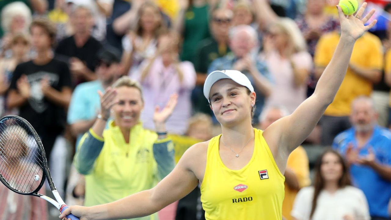 Ashleigh Barty celebrates in front of the adoring Brisbane crowd.