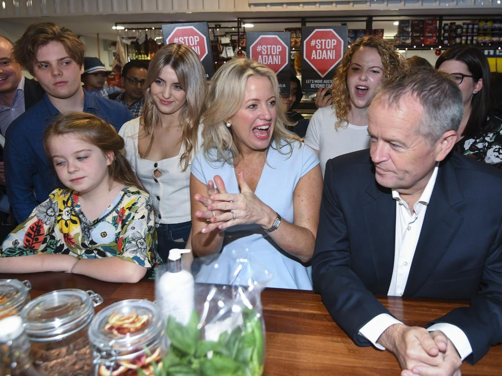 The couple, pictured with daughter Clementine, 9, and Ms Shorten's children from her first marriage, Rupert and Georgette. Picture: AAP Image/Lukas Coch