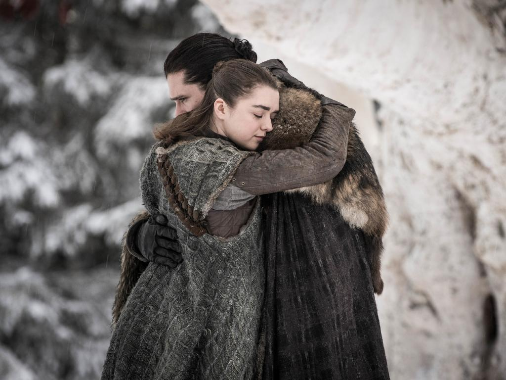 Maisie Williams, left, and Kit Harington in a scene from Game of Thrones.