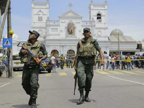 Sri Lankan Army soldiers secure the area around St. Anthony's Shrine after a blast in Colombo, Sri Lanka. Picture: AP