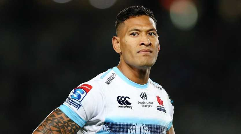 AUCKLAND, NEW ZEALAND — APRIL 06: Israel Folau of the Waratahs looks on during the round 8 Super Rugby match between the Blues and Waratahs at Eden Park on April 06, 2019 in Auckland, New Zealand. (Photo by Anthony Au-Yeung/Getty Images)