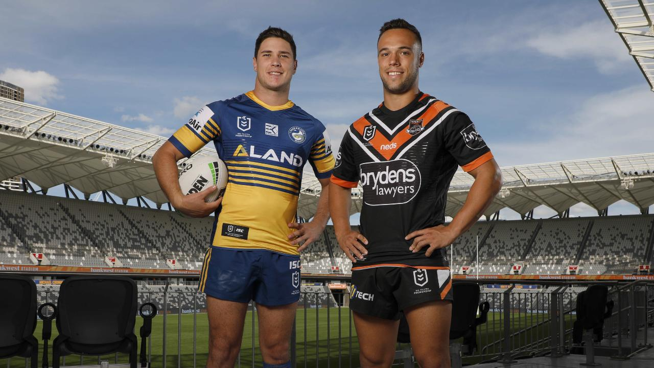 L-R, Mitchell Moses and Luke Brooks playing in the first ever game at BankWest Stadium. Pictures - Chris Pavlich for The Daily Telegraph