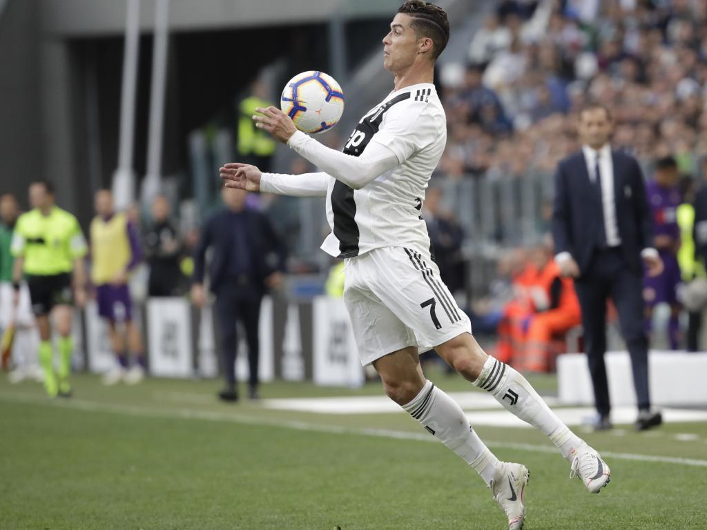 Cristiano Ronaldo controls the ball during Juventus' 2-1 win against Fiorentina. Picture: AP
