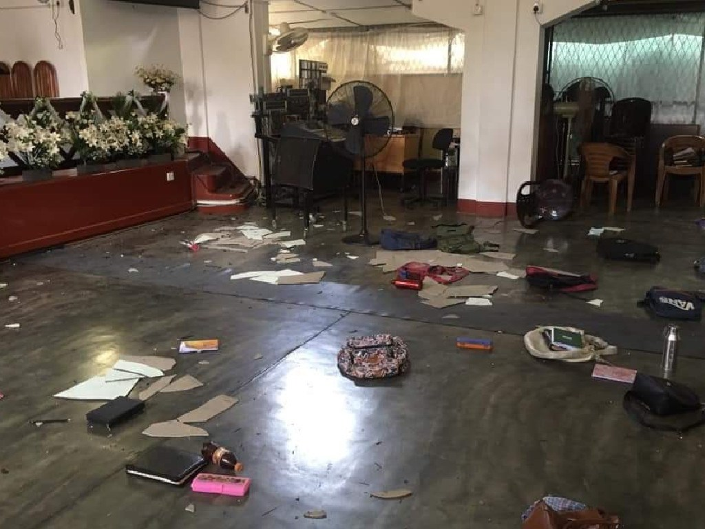 Inside the Zion Church in Batticaloa, East Sri Lanka, following the explosion. Picture: Supplied