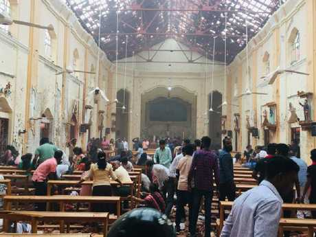 Suicide bombers are believed to be behind the blasts. Inside St. Sebastian's Church, Columbo, Sri Lanka. Picture: Facebook