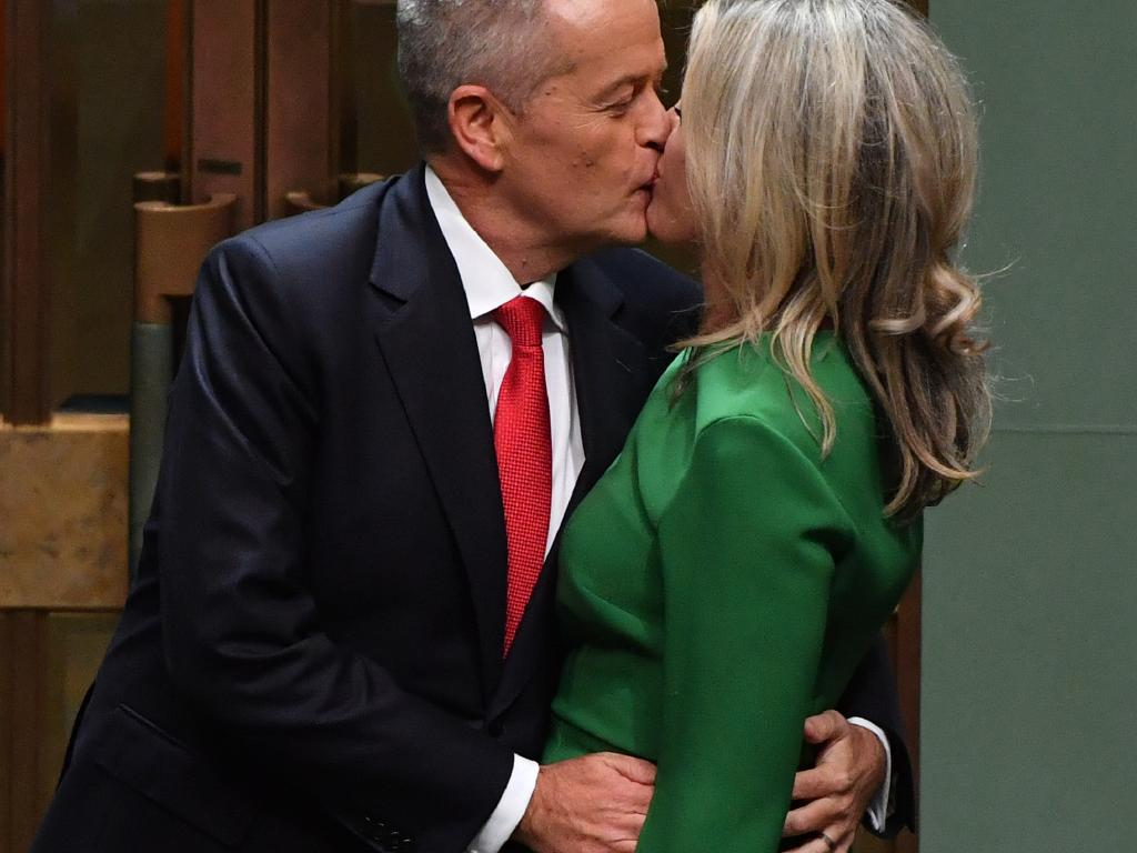 Bill Shorten kisses his wife after delivering the 2019-20 Federal Budget reply earlier this month. Picture: AAP Image/Mick Tsikas