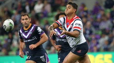 Latrell Mitchell has been named at five-eighth. Picture: AAP