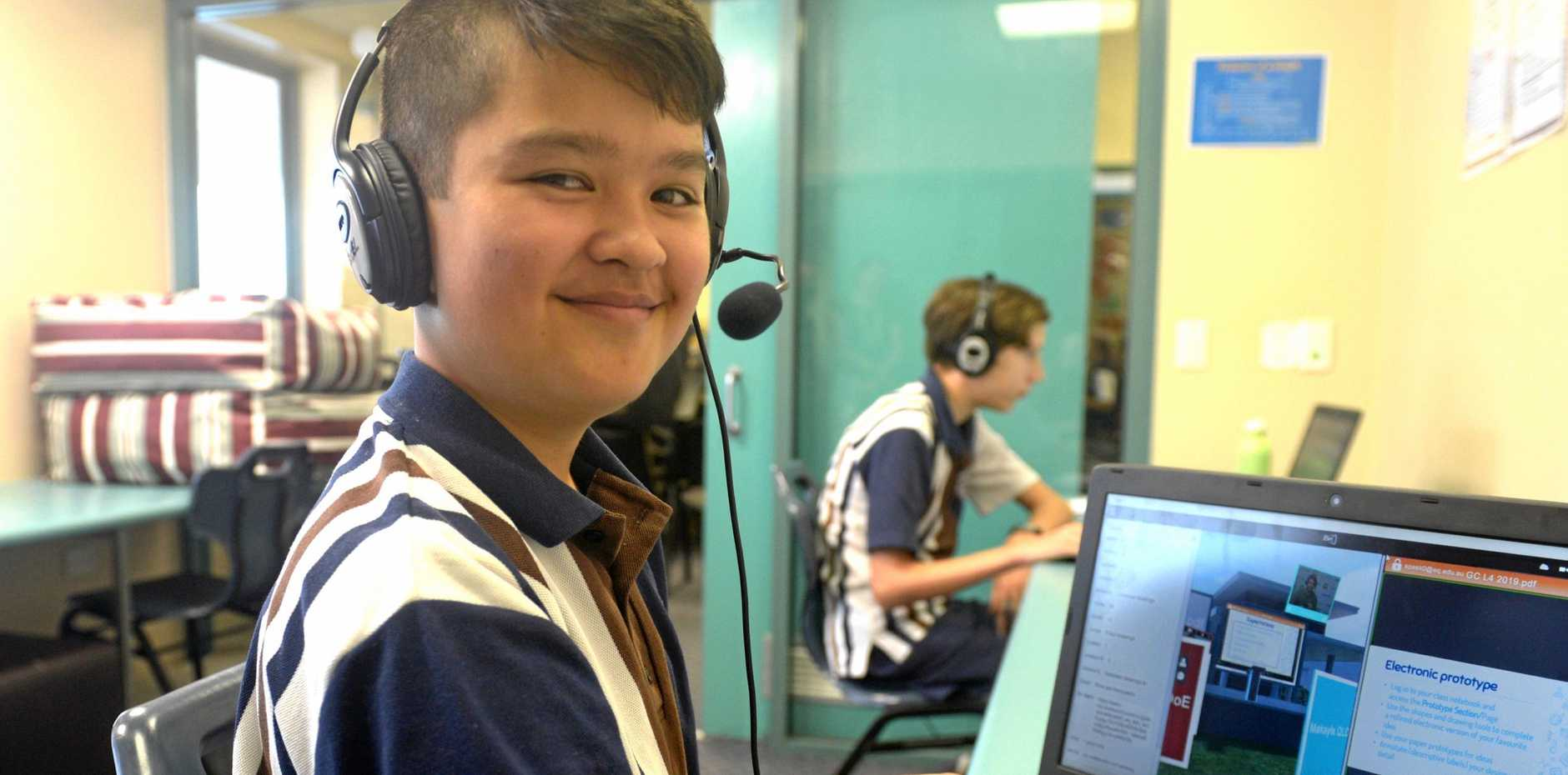 William Cho and Lachlan Balmain of Rockhampton State High School takes part on the QVSA online learning