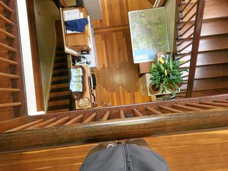 Looking down on the parquetry from the staircase.