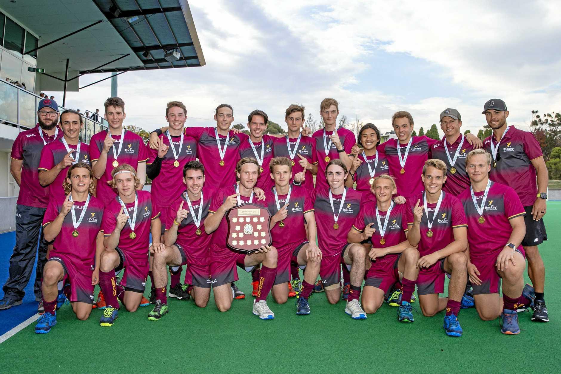 Queensland's 2019 national title-winning hockey team.