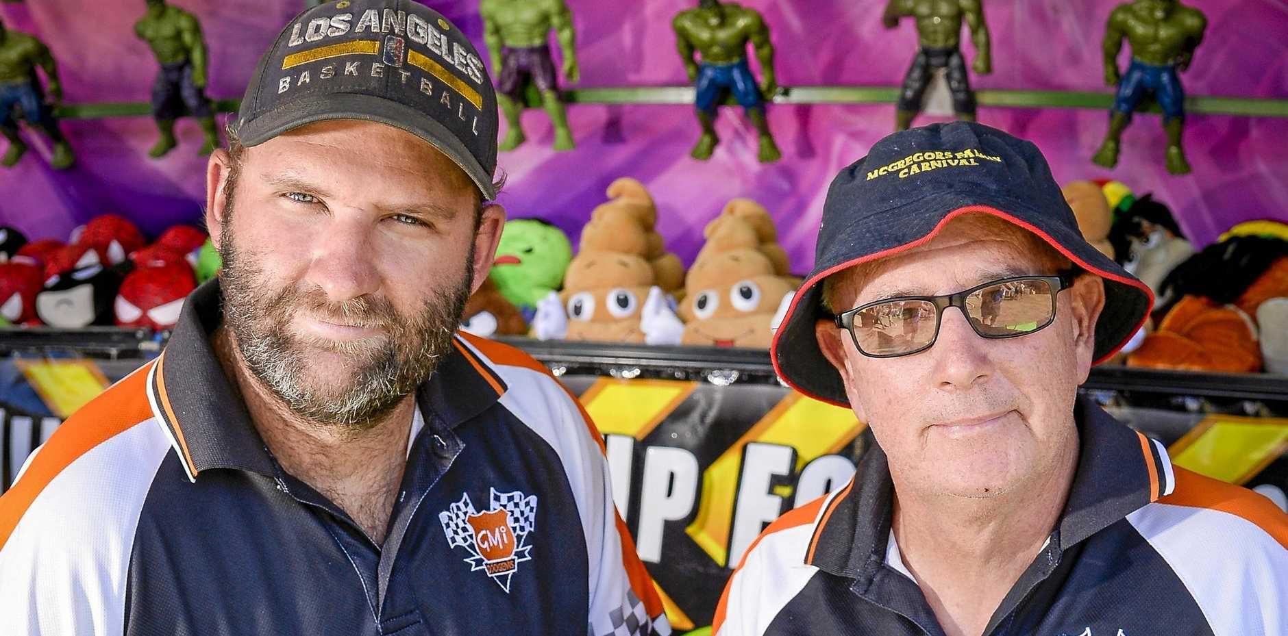 Glen McGregor (RIGHT), pictured with son Josh McGregor has been a rides operator at Gladstone Harbour Festival for 57 years.