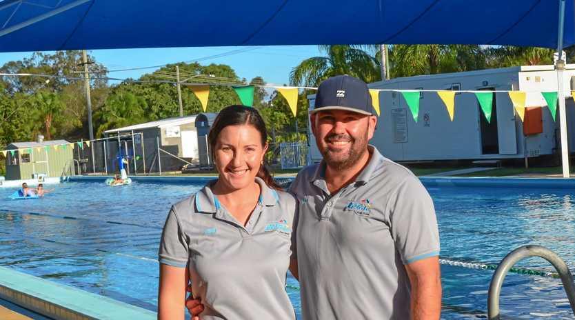SWIMMING SEASON: Amy and Ben Golchert wrap up their first swim season as lessees of Gayndah pool.