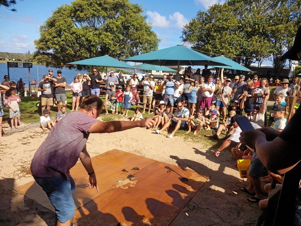 The yabby races have been running for eight years at Shaw Bay Hotel in Ballina.