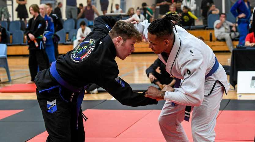 READY TO BATTLE: Gympie's Campbell Handay competing at the Sunshine Coast Brazilian Jiu-Jitsu Championship.