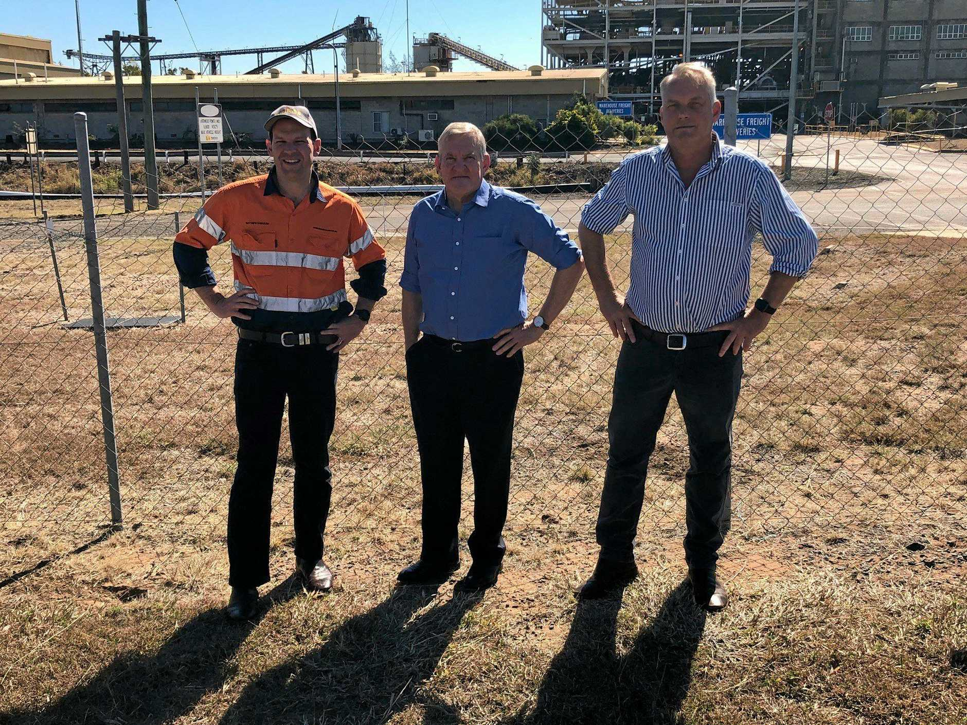 SALE FINALISED: Minister for Resources and Northern Australia Matt Canavan, Queensland Resources Council Chief Executive Ian Macfarlane and Member for Gregory Lachlan Millar at the Gregory Crinum Mine in 2018.