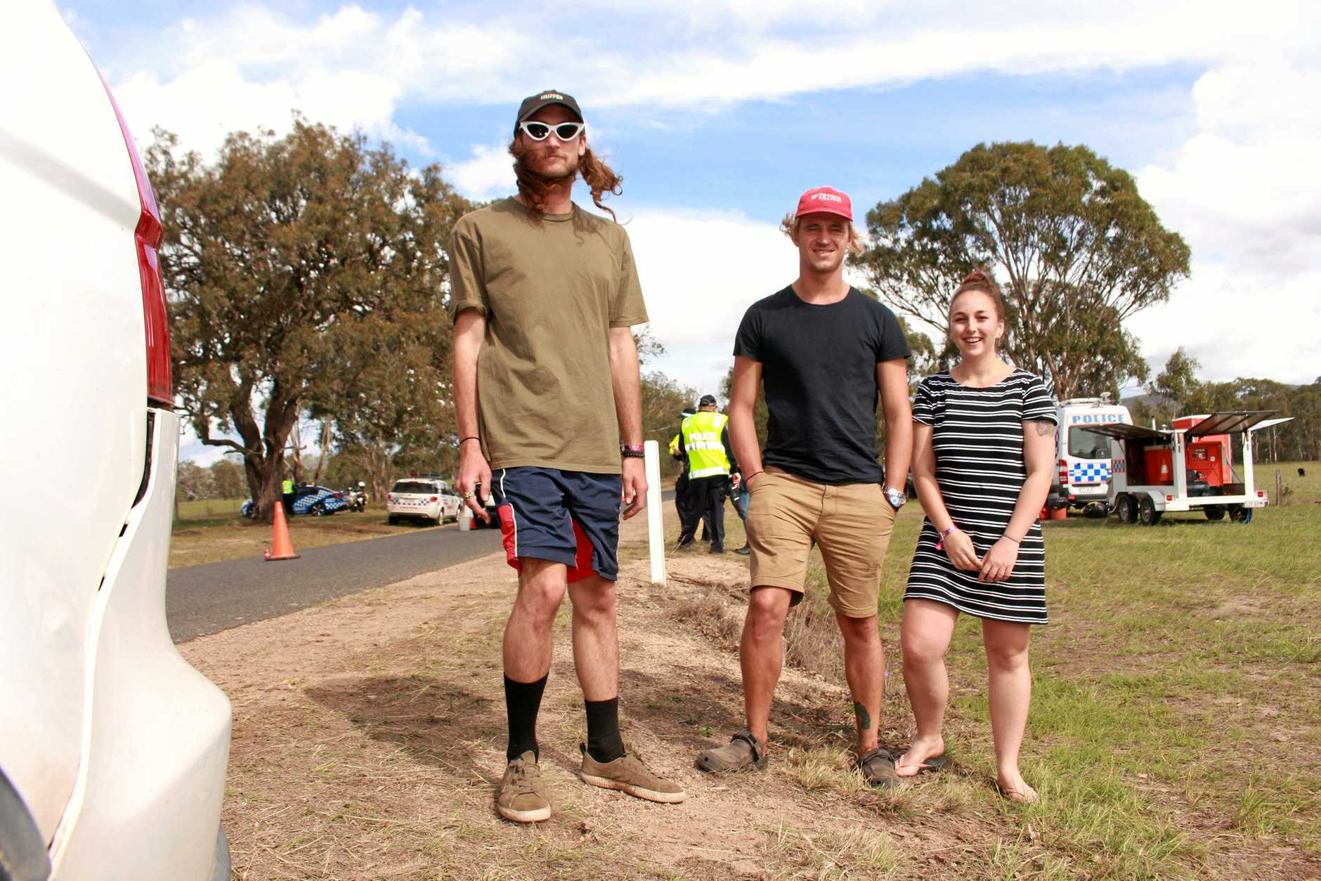 Festival-goers Lizard Aroyan, Julia Hughes and Jake McKenny have expressed their shock after two young people were found dead at Rabbits Eat Lettuce festival near Warwick on the Southern Downs.