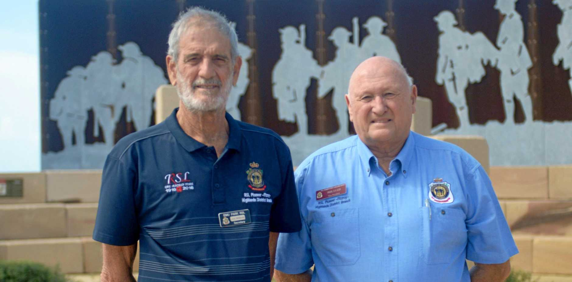 Emu Park RSL's Jon Willson and District Vice President Phillip Luzzi welcome more funding for Emu Park's Anzac walk
