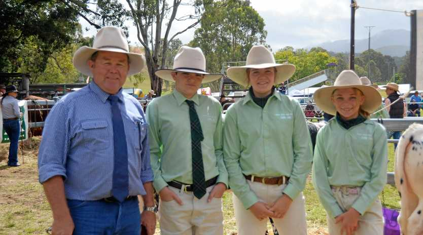 CATTLE COMPETITION: Member for Callide Colin Boyce with Monto State High School students Will Myles, Sophie Mclaughlan and Kiralee Streeter.