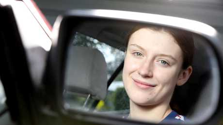 Molly Bradshaw says the trial of an app for young drivers helped her to improve her skills behind the wheel. Picture: AAP/Steve Pohlner