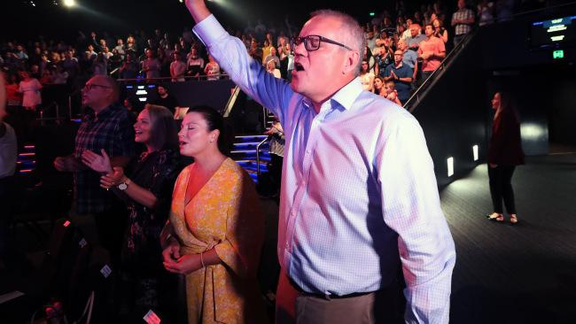 The Prime Minister Scott Morrison with his wife Jenny on Easter Sunday at the Horizon Church in Sutherland. Picture Gary Ramage