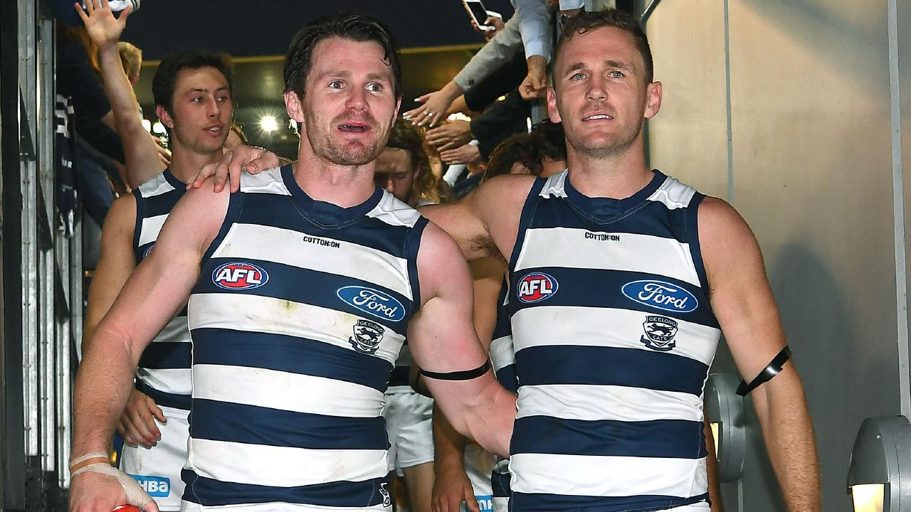 Patrick Dangerfield and Joel Selwood celebrate after the match. Picture: Getty Images