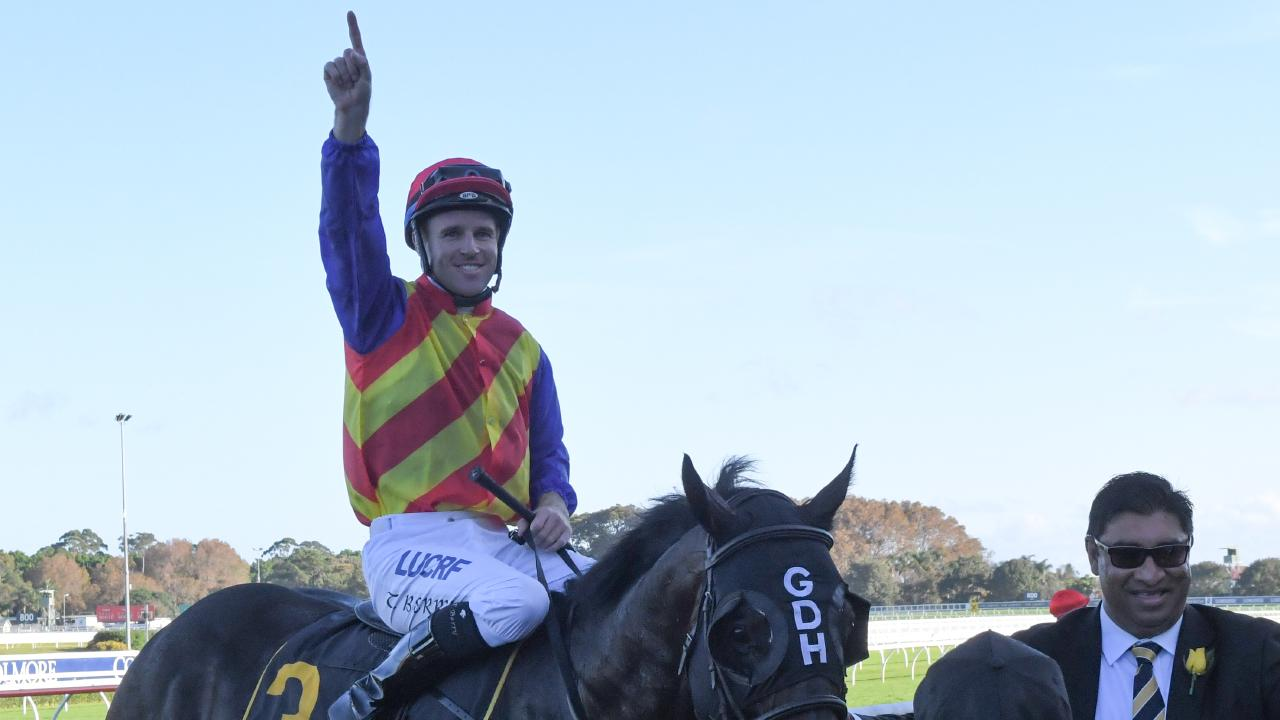 Jockey Tommy Berry returns to scale after riding Pierata to victory on Saturday. Picture: AAP
