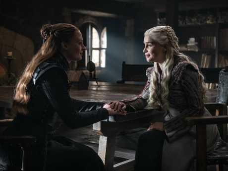 Is she still alive? Daenerys (Emilia Clarke) checks Sansa's pulse (Sophie Turner) on Game of Thrones. Picture: HBO